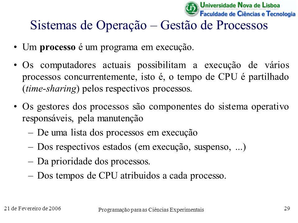 21 de Fevereiro de 2006 Programação para as Ciências Experimentais 29 Sistemas de Operação – Gestão de Processos Um processo é um programa em execução.