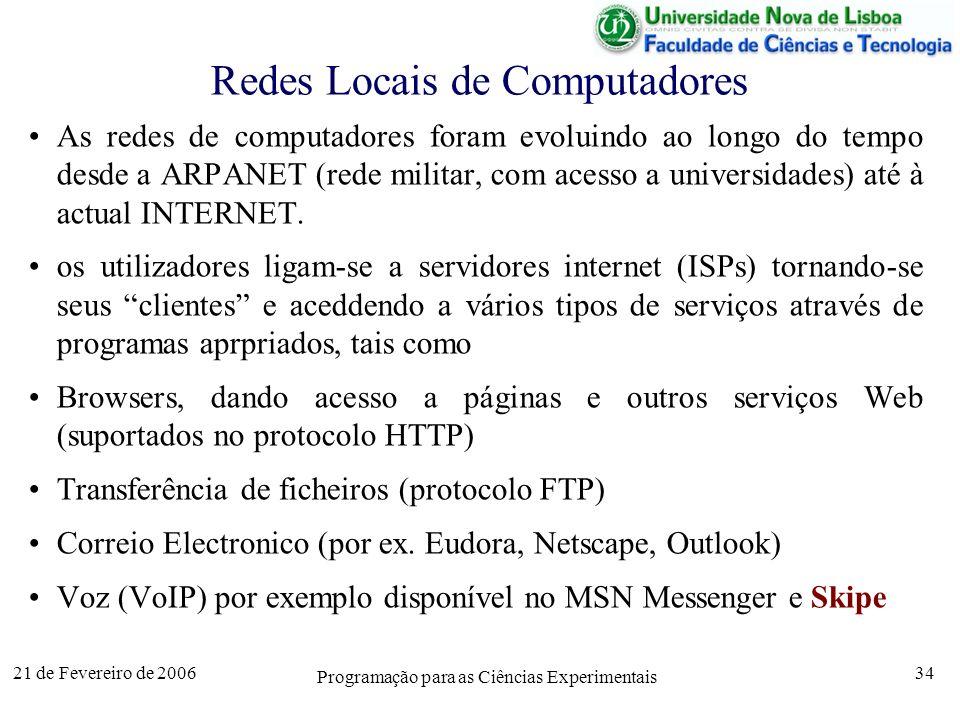 21 de Fevereiro de 2006 Programação para as Ciências Experimentais 34 Redes Locais de Computadores As redes de computadores foram evoluindo ao longo do tempo desde a ARPANET (rede militar, com acesso a universidades) até à actual INTERNET.