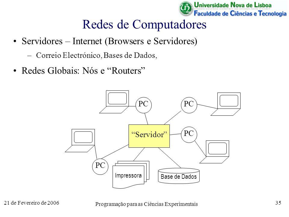 21 de Fevereiro de 2006 Programação para as Ciências Experimentais 35 Redes de Computadores Servidores – Internet (Browsers e Servidores) –Correio Electrónico, Bases de Dados, Redes Globais: Nós e Routers PC Servidor Impressora Base de Dados