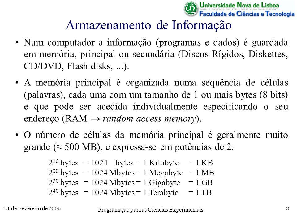 21 de Fevereiro de 2006 Programação para as Ciências Experimentais 8 Armazenamento de Informação Num computador a informação (programas e dados) é guardada em memória, principal ou secundária (Discos Rígidos, Diskettes, CD/DVD, Flash disks,...).