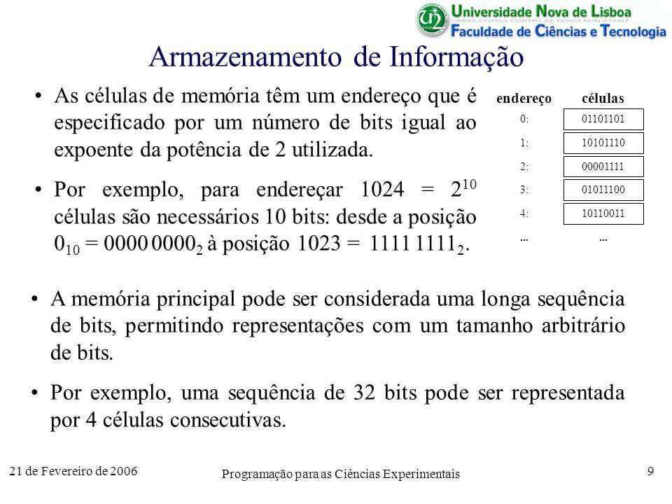 21 de Fevereiro de 2006 Programação para as Ciências Experimentais 9 Armazenamento de Informação As células de memória têm um endereço que é especificado por um número de bits igual ao expoente da potência de 2 utilizada.