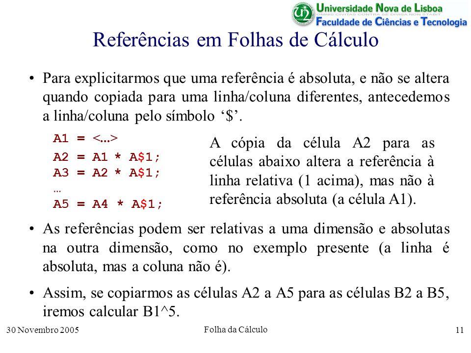 30 Novembro 2005 Folha da Cálculo 11 Referências em Folhas de Cálculo Para explicitarmos que uma referência é absoluta, e não se altera quando copiada para uma linha/coluna diferentes, antecedemos a linha/coluna pelo símbolo $.