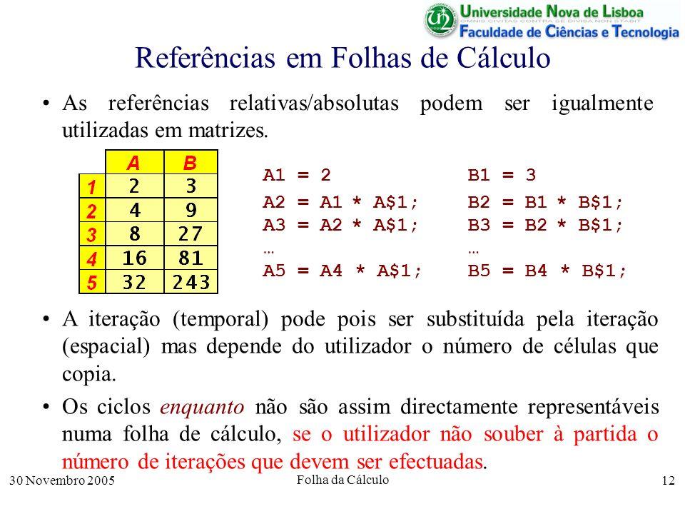 30 Novembro 2005 Folha da Cálculo 12 Referências em Folhas de Cálculo As referências relativas/absolutas podem ser igualmente utilizadas em matrizes.