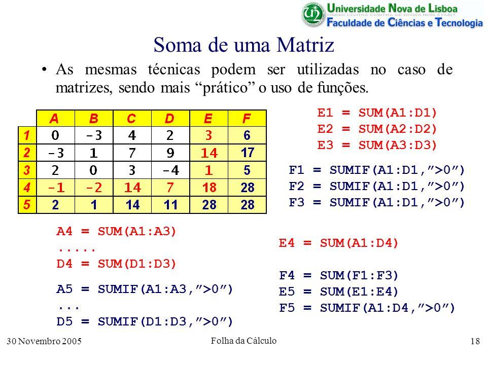 30 Novembro 2005 Folha da Cálculo 18 Soma de uma Matriz As mesmas técnicas podem ser utilizadas no caso de matrizes, sendo mais prático o uso de funções.