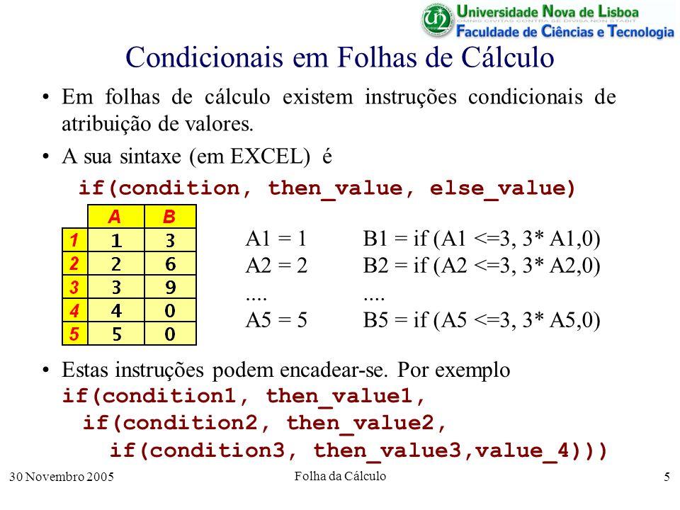 30 Novembro 2005 Folha da Cálculo 5 Condicionais em Folhas de Cálculo Em folhas de cálculo existem instruções condicionais de atribuição de valores.