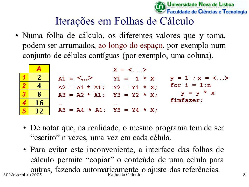 30 Novembro 2005 Folha da Cálculo 8 Iterações em Folhas de Cálculo Numa folha de cálculo, os diferentes valores que y toma, podem ser arrumados, ao longo do espaço, por exemplo num conjunto de células contíguas (por exemplo, uma coluna).
