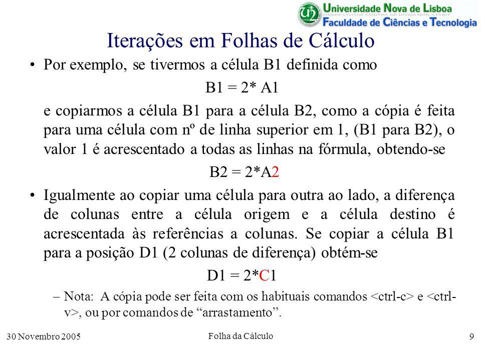 30 Novembro 2005 Folha da Cálculo 9 Iterações em Folhas de Cálculo Por exemplo, se tivermos a célula B1 definida como B1 = 2* A1 e copiarmos a célula B1 para a célula B2, como a cópia é feita para uma célula com nº de linha superior em 1, (B1 para B2), o valor 1 é acrescentado a todas as linhas na fórmula, obtendo-se B2 = 2*A2 Igualmente ao copiar uma célula para outra ao lado, a diferença de colunas entre a célula origem e a célula destino é acrescentada às referências a colunas.