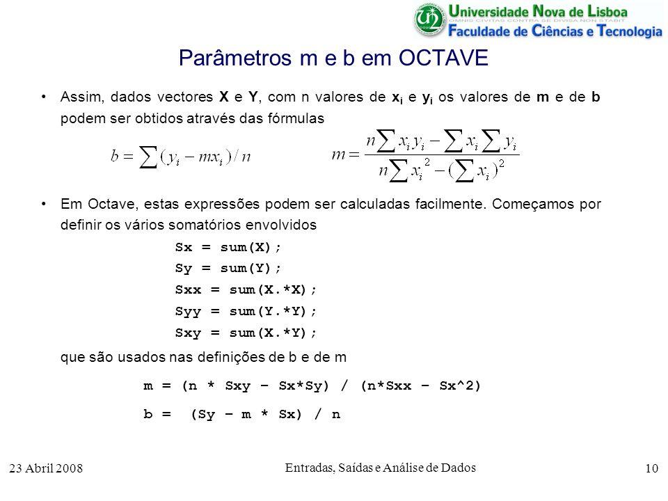 23 Abril 2008 Entradas, Saídas e Análise de Dados 10 Assim, dados vectores X e Y, com n valores de x i e y i os valores de m e de b podem ser obtidos através das fórmulas Em Octave, estas expressões podem ser calculadas facilmente.