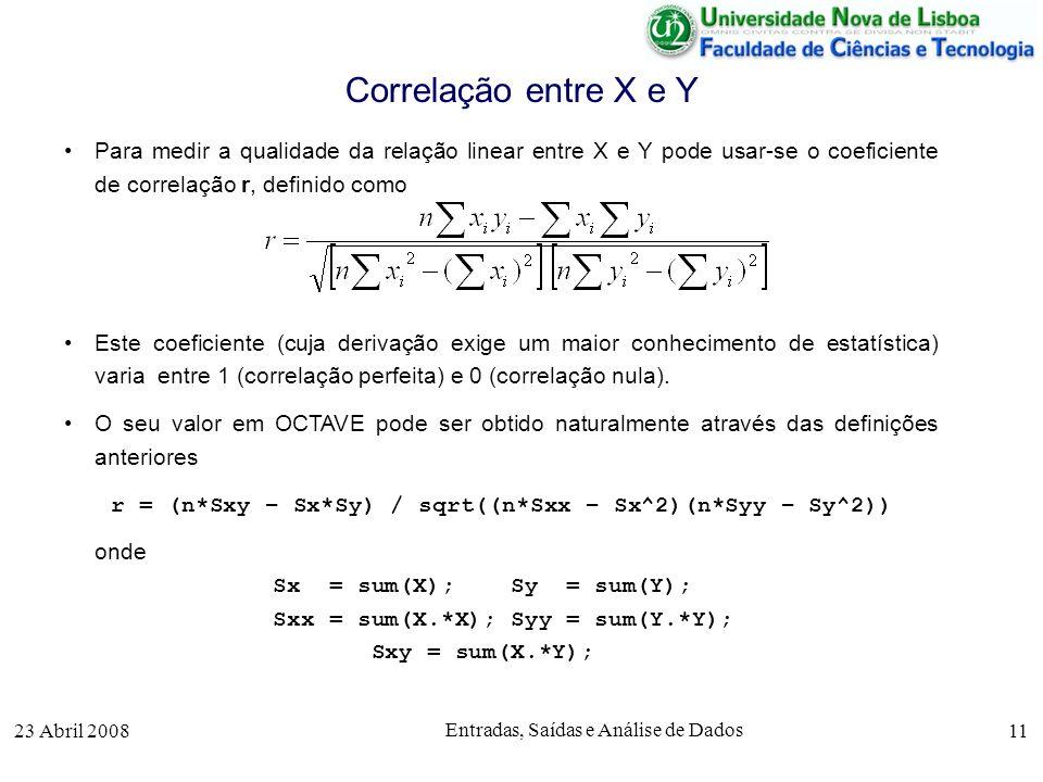 23 Abril 2008 Entradas, Saídas e Análise de Dados 11 Para medir a qualidade da relação linear entre X e Y pode usar-se o coeficiente de correlação r, definido como Este coeficiente (cuja derivação exige um maior conhecimento de estatística) varia entre 1 (correlação perfeita) e 0 (correlação nula).