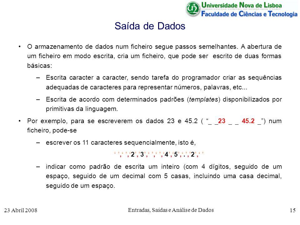 23 Abril 2008 Entradas, Saídas e Análise de Dados 15 O armazenamento de dados num ficheiro segue passos semelhantes.