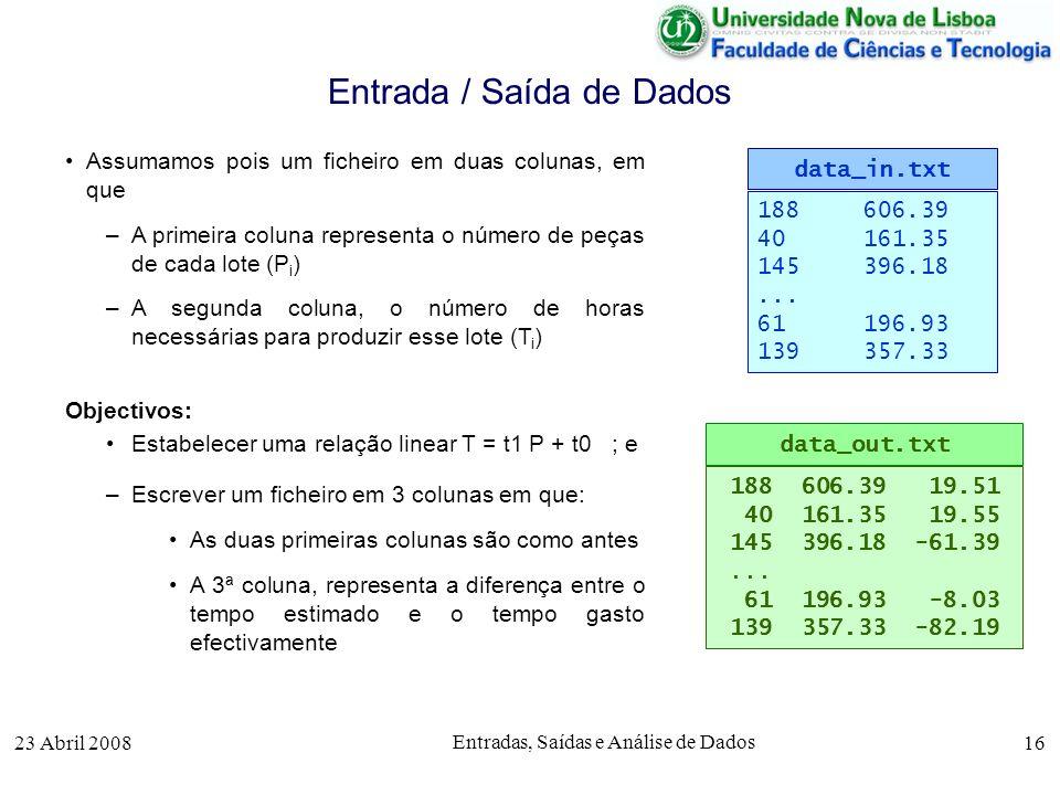 23 Abril 2008 Entradas, Saídas e Análise de Dados 16 Assumamos pois um ficheiro em duas colunas, em que –A primeira coluna representa o número de peças de cada lote (P i ) –A segunda coluna, o número de horas necessárias para produzir esse lote (T i ) Objectivos: Estabelecer uma relação linear T = t1 P + t0 ; e –Escrever um ficheiro em 3 colunas em que: As duas primeiras colunas são como antes A 3ª coluna, representa a diferença entre o tempo estimado e o tempo gasto efectivamente Entrada / Saída de Dados 188606.39 40161.35 145396.18...