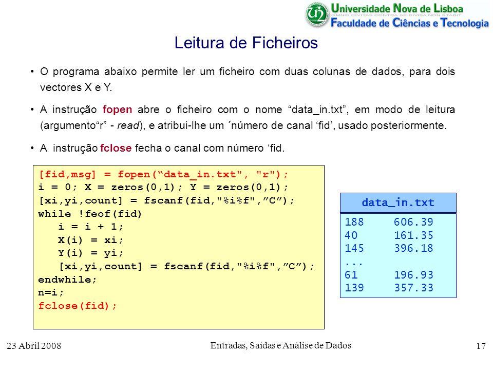 23 Abril 2008 Entradas, Saídas e Análise de Dados 17 O programa abaixo permite ler um ficheiro com duas colunas de dados, para dois vectores X e Y.
