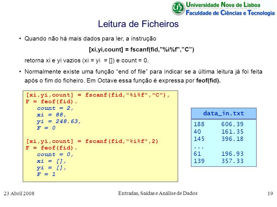 23 Abril 2008 Entradas, Saídas e Análise de Dados 19 Quando não há mais dados para ler, a instrução [xi,yi,count] = fscanf(fid, %i%f ,C) retorna xi e yi vazios (xi = yi = []) e count = 0.