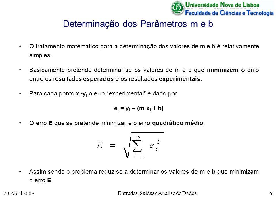 23 Abril 2008 Entradas, Saídas e Análise de Dados 6 Determinação dos Parâmetros m e b O tratamento matemático para a determinação dos valores de m e b é relativamente simples.