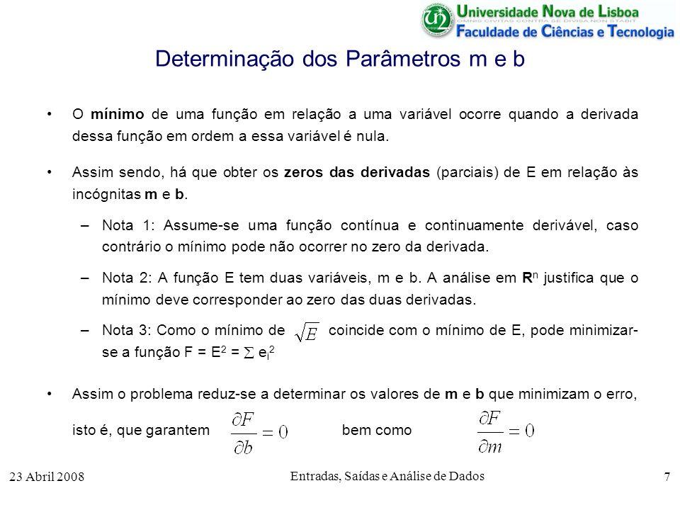 23 Abril 2008 Entradas, Saídas e Análise de Dados 7 Determinação dos Parâmetros m e b O mínimo de uma função em relação a uma variável ocorre quando a derivada dessa função em ordem a essa variável é nula.