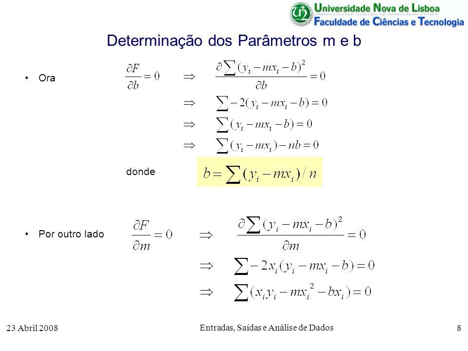 23 Abril 2008 Entradas, Saídas e Análise de Dados 8 Determinação dos Parâmetros m e b Ora donde Por outro lado