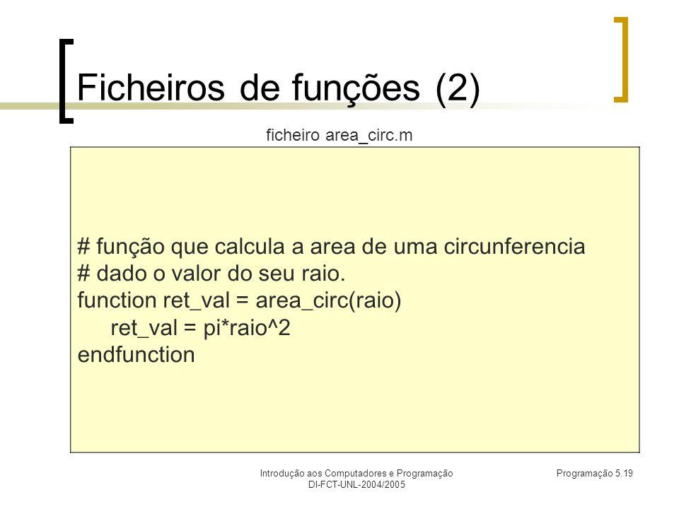 Introdução aos Computadores e Programação DI-FCT-UNL-2004/2005 Programação 5.19 Ficheiros de funções (2) # função que calcula a area de uma circunferencia # dado o valor do seu raio.