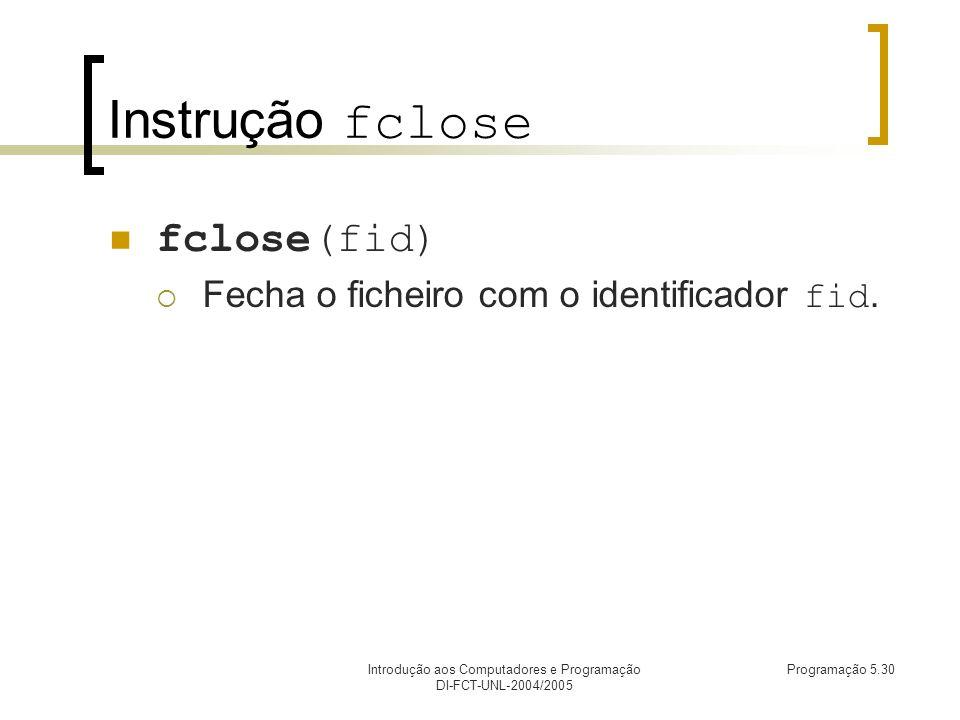 Introdução aos Computadores e Programação DI-FCT-UNL-2004/2005 Programação 5.30 Instrução fclose fclose(fid) Fecha o ficheiro com o identificador fid.