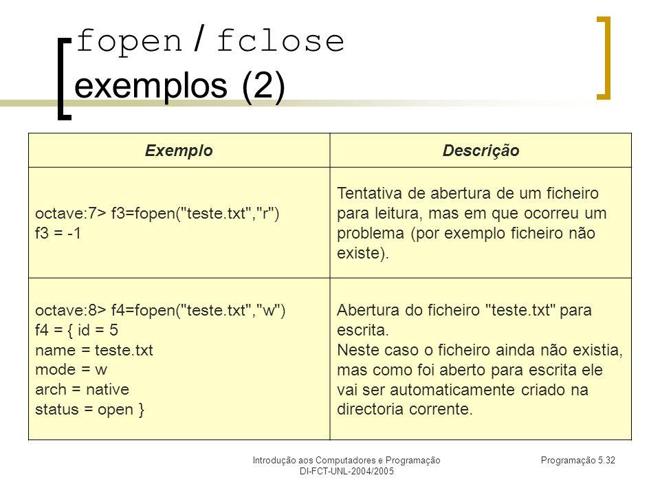 Introdução aos Computadores e Programação DI-FCT-UNL-2004/2005 Programação 5.32 fopen / fclose exemplos (2) ExemploDescrição octave:7> f3=fopen( teste.txt , r ) f3 = -1 Tentativa de abertura de um ficheiro para leitura, mas em que ocorreu um problema (por exemplo ficheiro não existe).