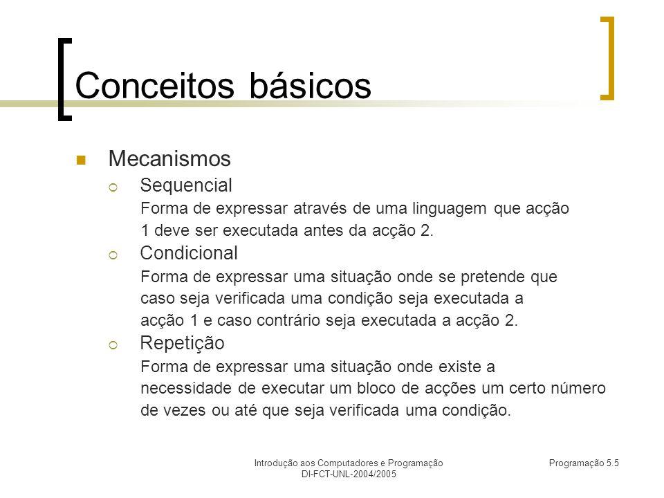 Introdução aos Computadores e Programação DI-FCT-UNL-2004/2005 Programação 5.5 Conceitos básicos Mecanismos Sequencial Forma de expressar através de uma linguagem que acção 1 deve ser executada antes da acção 2.