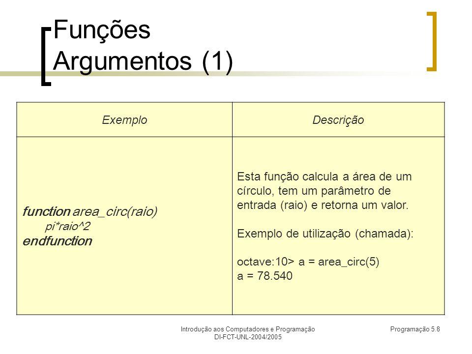 Introdução aos Computadores e Programação DI-FCT-UNL-2004/2005 Programação 5.8 Funções Argumentos (1) ExemploDescrição function area_circ(raio) pi*raio^2 endfunction Esta função calcula a área de um círculo, tem um parâmetro de entrada (raio) e retorna um valor.