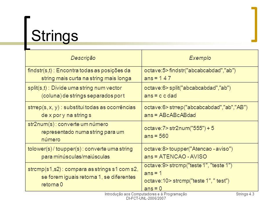 Introdução aos Computadores e à Programação DI-FCT-UNL-2006/2007 Strings 4.3 Strings octave:9> strcmp( teste 1 , teste 1 ) ans = 1 octave:10> strcmp( teste 1 , test ) ans = 0 strcmp(s1,s2) : compara as strings s1 com s2, se forem iguais retorna 1, se diferentes retorna 0 octave:8> toupper( Atencao - aviso ) ans = ATENCAO - AVISO tolower(s) / toupper(s) : converte uma string para minúsculas/maiúsculas octave:7> str2num( 555 ) + 5 ans = 560 str2num(s) : converte um número representado numa string para um número octave:6> strrep( abcabcabdad , ab , AB ) ans = ABcABcABdad strrep(s, x, y) : substitui todas as ocorrências de x por y na string s octave:6> split( abcabcabdad , ab ) ans = c c dad split(s,t) : Divide uma string num vector (coluna) de strings separados por t octave:5> findstr( abcabcabdad , ab ) ans = 1 4 7 findstr(s,t) : Encontra todas as posições da string mais curta na string mais longa ExemploDescrição