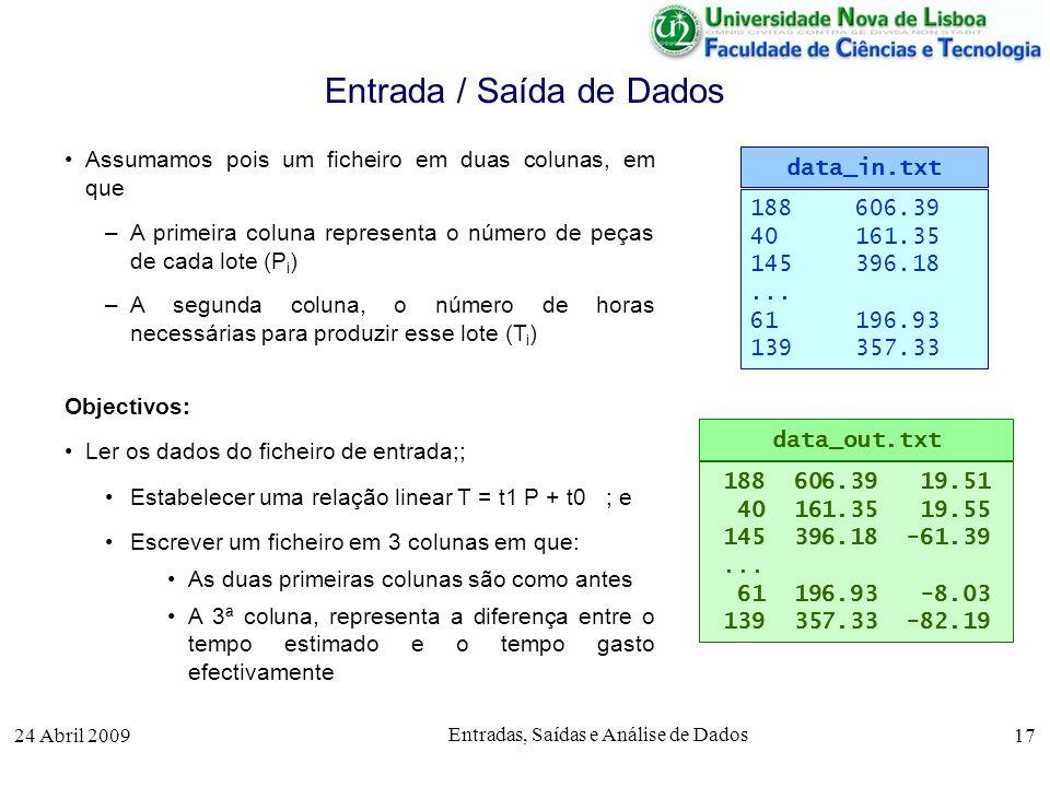 24 Abril 2009 Entradas, Saídas e Análise de Dados 17 Assumamos pois um ficheiro em duas colunas, em que –A primeira coluna representa o número de peça