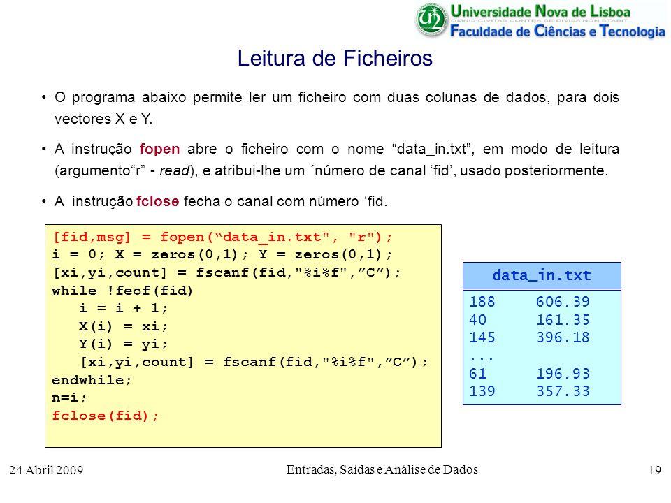 24 Abril 2009 Entradas, Saídas e Análise de Dados 19 O programa abaixo permite ler um ficheiro com duas colunas de dados, para dois vectores X e Y. A