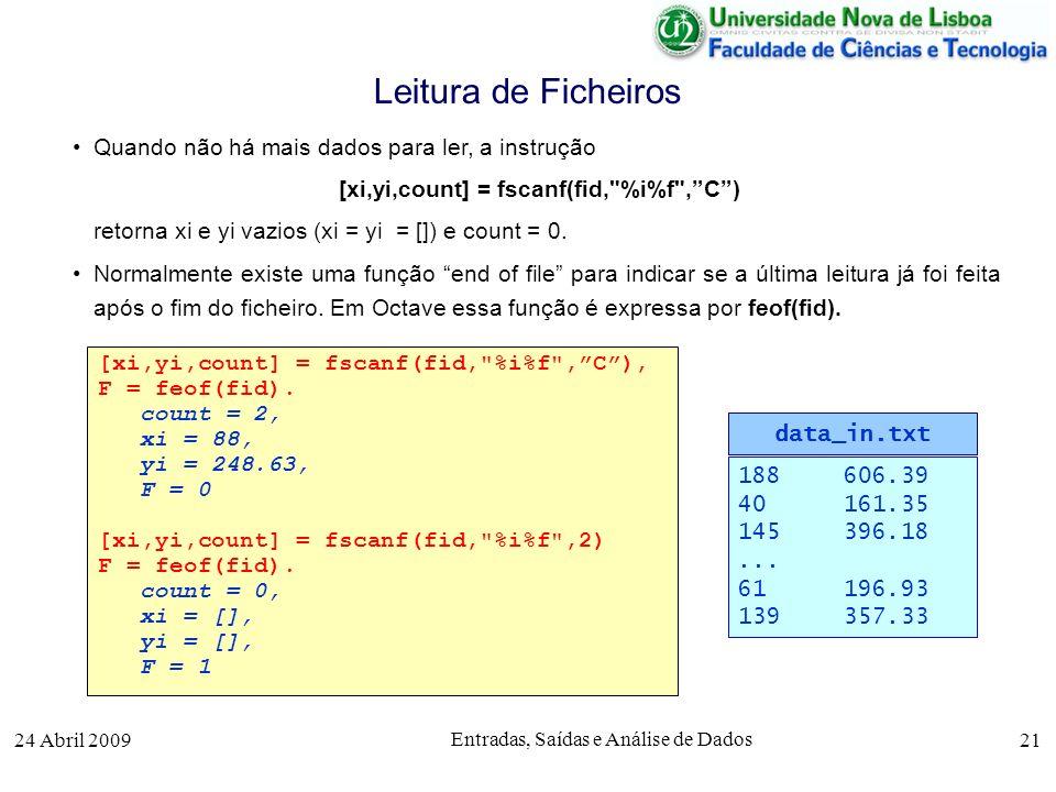 24 Abril 2009 Entradas, Saídas e Análise de Dados 21 Quando não há mais dados para ler, a instrução [xi,yi,count] = fscanf(fid,
