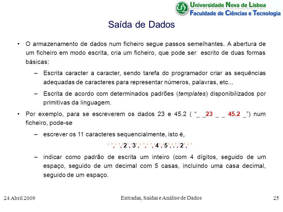 24 Abril 2009 Entradas, Saídas e Análise de Dados 25 O armazenamento de dados num ficheiro segue passos semelhantes. A abertura de um ficheiro em modo
