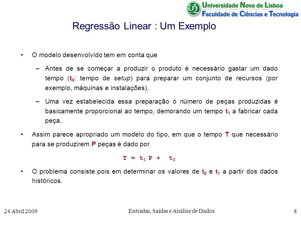 24 Abril 2009 Entradas, Saídas e Análise de Dados 8 Regressão Linear : Um Exemplo O modelo desenvolvido tem em conta que –Antes de se começar a produz