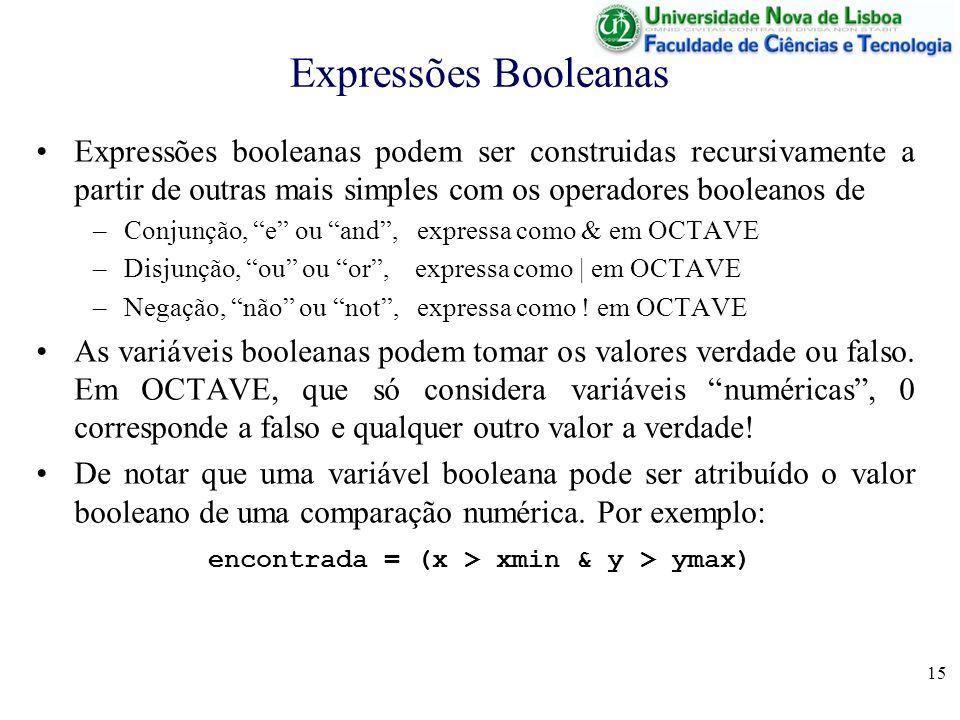15 Expressões Booleanas Expressões booleanas podem ser construidas recursivamente a partir de outras mais simples com os operadores booleanos de –Conj