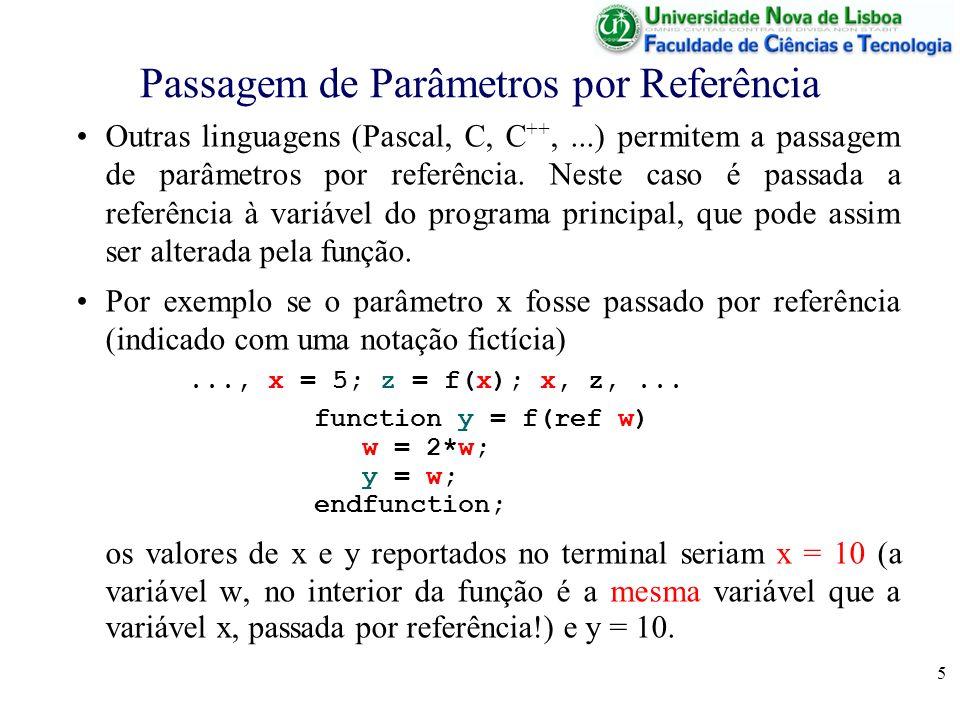 5 Passagem de Parâmetros por Referência Outras linguagens (Pascal, C, C ++,...) permitem a passagem de parâmetros por referência. Neste caso é passada