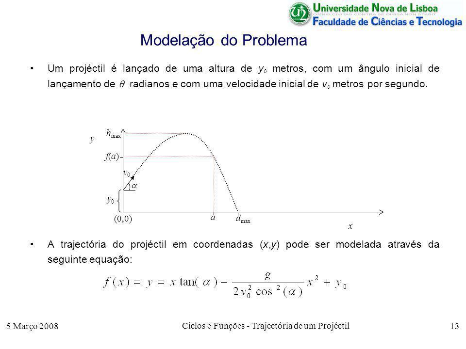 5 Março 2008 Ciclos e Funções - Trajectória de um Projéctil 13 Modelação do Problema Um projéctil é lançado de uma altura de y 0 metros, com um ângulo inicial de lançamento de radianos e com uma velocidade inicial de v 0 metros por segundo.