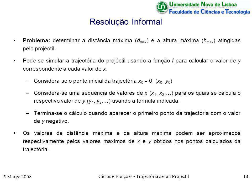 5 Março 2008 Ciclos e Funções - Trajectória de um Projéctil 14 Resolução Informal Problema: determinar a distância máxima (d max ) e a altura máxima (h max ) atingidas pelo projéctil.