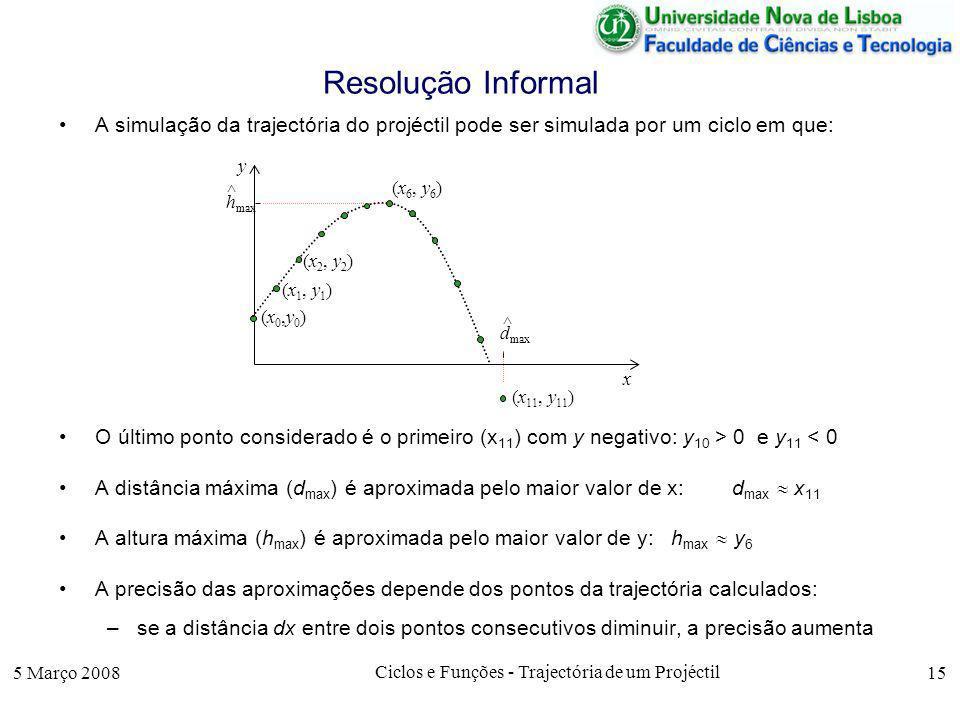 5 Março 2008 Ciclos e Funções - Trajectória de um Projéctil 15 Resolução Informal A simulação da trajectória do projéctil pode ser simulada por um ciclo em que: O último ponto considerado é o primeiro (x 11 ) com y negativo: y 10 > 0 e y 11 < 0 A distância máxima (d max ) é aproximada pelo maior valor de x: d max x 11 A altura máxima (h max ) é aproximada pelo maior valor de y: h max y 6 A precisão das aproximações depende dos pontos da trajectória calculados: –se a distância dx entre dois pontos consecutivos diminuir, a precisão aumenta (x0,y0)(x0,y0) x y (x 1, y 1 ) (x 2, y 2 ) (x 11, y 11 ) (x 6, y 6 ) h max ^ d max ^