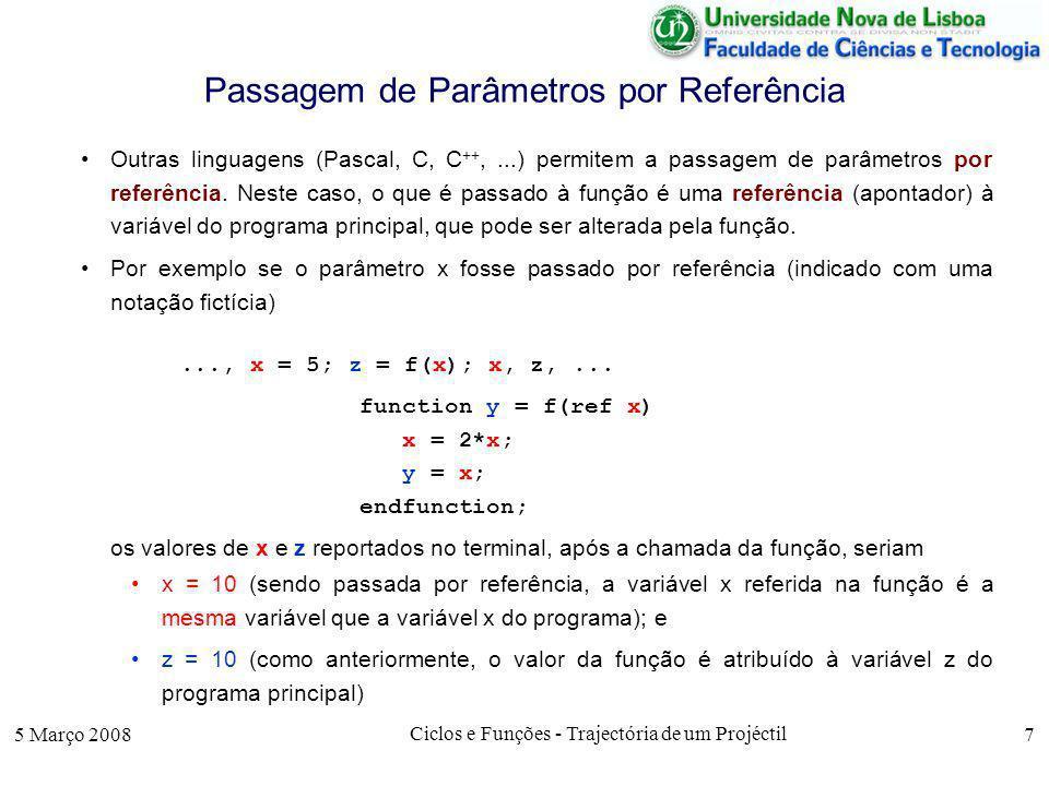 5 Março 2008 Ciclos e Funções - Trajectória de um Projéctil 18 Algoritmo de Simulação O corpo do algoritmo corresponde a um ciclo em que vão sendo obtidos valores de x e de y até se obter um valor de y negativo.