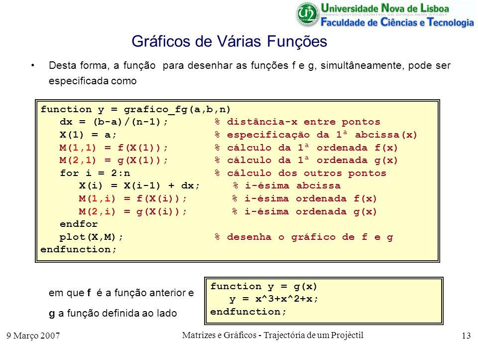 9 Março 2007 Matrizes e Gráficos - Trajectória de um Projéctil 13 Gráficos de Várias Funções Desta forma, a função para desenhar as funções f e g, simultâneamente, pode ser especificada como em que f é a função anterior e g a função definida ao lado function y = grafico_fg(a,b,n) dx = (b-a)/(n-1);% distância-x entre pontos X(1) = a; % especificação da 1ª abcissa(x) M(1,1) = f(X(1));% cálculo da 1ª ordenada f(x) M(2,1) = g(X(1));% cálculo da 1ª ordenada g(x) for i = 2:n% cálculo dos outros pontos X(i) = X(i-1) + dx; % i-ésima abcissa M(1,i) = f(X(i));% i-ésima ordenada f(x) M(2,i) = g(X(i));% i-ésima ordenada g(x) endfor plot(X,M);% desenha o gráfico de f e g endfunction; function y = g(x) y = x^3+x^2+x; endfunction;