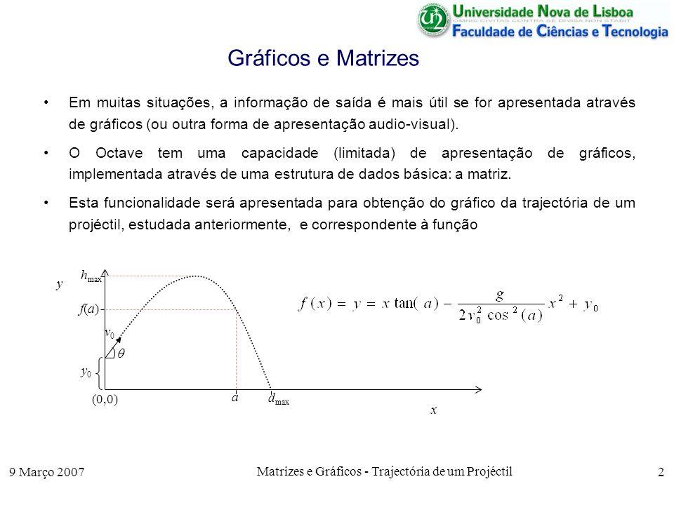 9 Março 2007 Matrizes e Gráficos - Trajectória de um Projéctil 2 Gráficos e Matrizes Em muitas situações, a informação de saída é mais útil se for apresentada através de gráficos (ou outra forma de apresentação audio-visual).