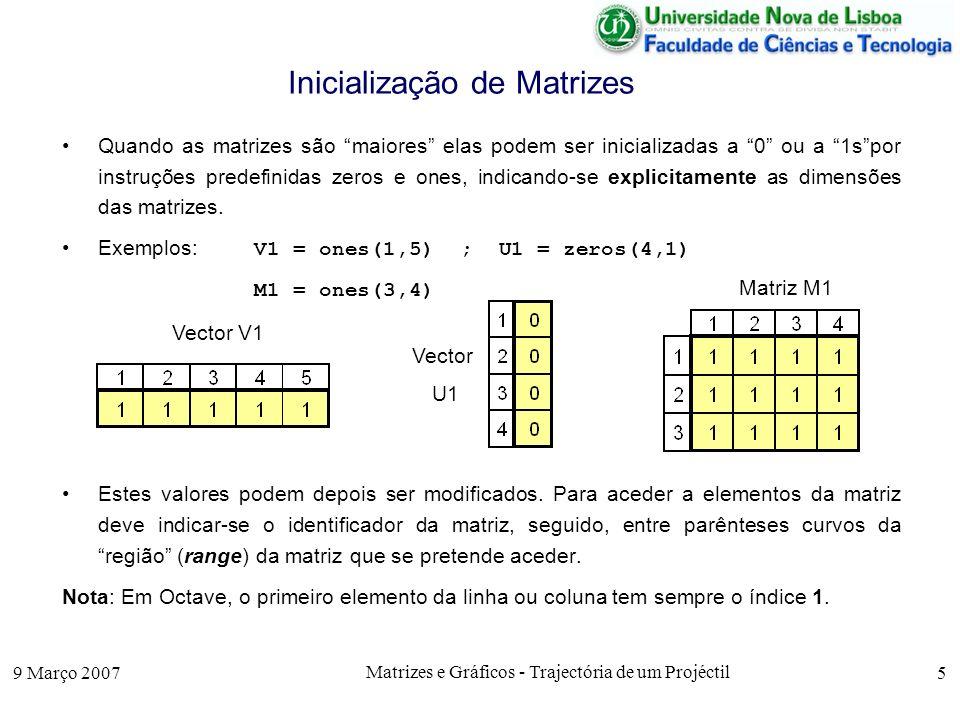 9 Março 2007 Matrizes e Gráficos - Trajectória de um Projéctil 5 Inicialização de Matrizes Quando as matrizes são maiores elas podem ser inicializadas a 0 ou a 1spor instruções predefinidas zeros e ones, indicando-se explicitamente as dimensões das matrizes.
