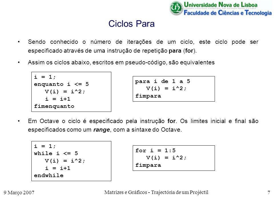 9 Março 2007 Matrizes e Gráficos - Trajectória de um Projéctil 18 Aproximações de Funções Por vezes uma função é aproximada por um intervalo [a i, b i ], que se vai estreitando em sucessivas iterações até ser a k b k.