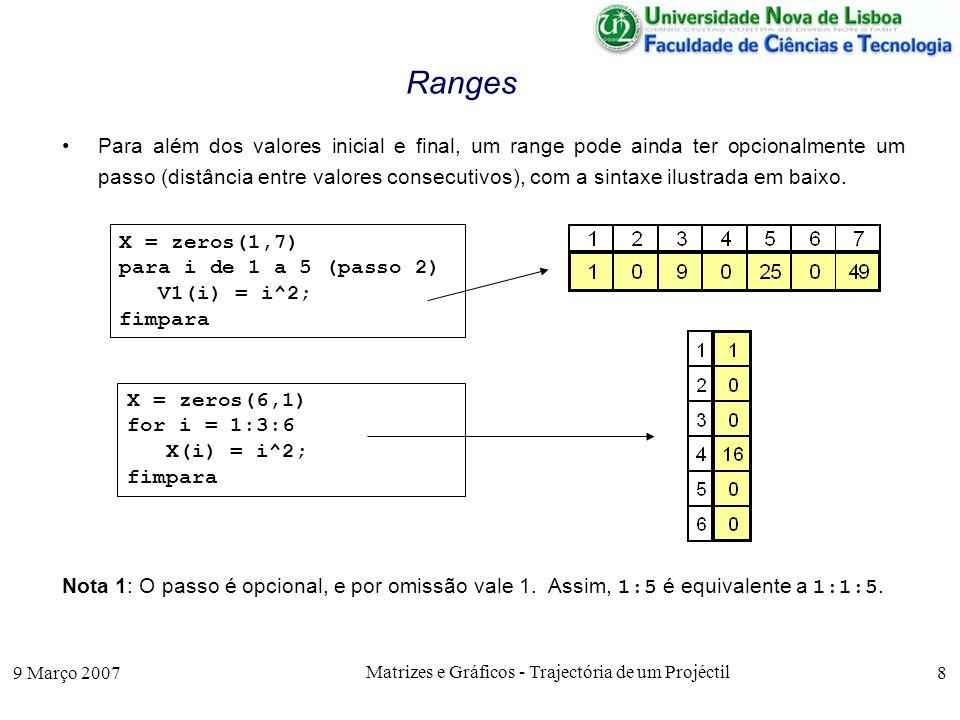 9 Março 2007 Matrizes e Gráficos - Trajectória de um Projéctil 19 Aproximações de Funções Eis a função raiz2(x,n), definida em Octave para determinar a raiz quadrada de x, em n iterações, mostrando graficamente a evolução dos intervalos [a i, b i ], function y = raiz2(x,n); X(1) = 1; M(1,1)= min(1,x); M(1,2)= max(1,x); % intervalo inicial for i = 1:n-1 mid = (M(i,1)+M(i,2))/2; % bissecta o intervalo if mid^2 > x M(i+1,2) = mid; M(i+1,1) = x/mid; else % novo intervalo M(i+1,1) = mid; M(i+1,2) = x/mid; endif X(i+1) = i + 1; endfor y = (M(n,1)+M(n,2))/2;% retorna o valor da raiz quadrada plot(X,M); % grafico da evolução de [a i, b i ] endfunction
