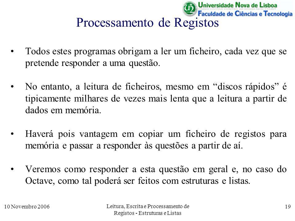 10 Novembro 2006 Leitura, Escrita e Processamento de Registos - Estruturas e Listas 19 Processamento de Registos Todos estes programas obrigam a ler um ficheiro, cada vez que se pretende responder a uma questão.