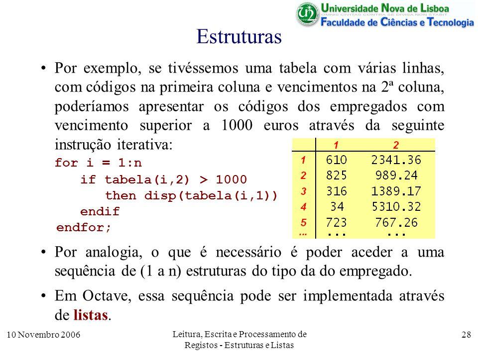 10 Novembro 2006 Leitura, Escrita e Processamento de Registos - Estruturas e Listas 28 Estruturas Por exemplo, se tivéssemos uma tabela com várias linhas, com códigos na primeira coluna e vencimentos na 2ª coluna, poderíamos apresentar os códigos dos empregados com vencimento superior a 1000 euros através da seguinte instrução iterativa: for i = 1:n if tabela(i,2) > 1000 then disp(tabela(i,1)) endif endfor; Por analogia, o que é necessário é poder aceder a uma sequência de (1 a n) estruturas do tipo da do empregado.