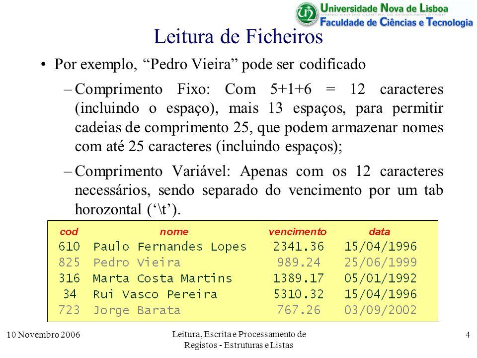 10 Novembro 2006 Leitura, Escrita e Processamento de Registos - Estruturas e Listas 4 Leitura de Ficheiros Por exemplo, Pedro Vieira pode ser codificado –Comprimento Fixo: Com 5+1+6 = 12 caracteres (incluindo o espaço), mais 13 espaços, para permitir cadeias de comprimento 25, que podem armazenar nomes com até 25 caracteres (incluindo espaços); –Comprimento Variável: Apenas com os 12 caracteres necessários, sendo separado do vencimento por um tab horozontal (\t).