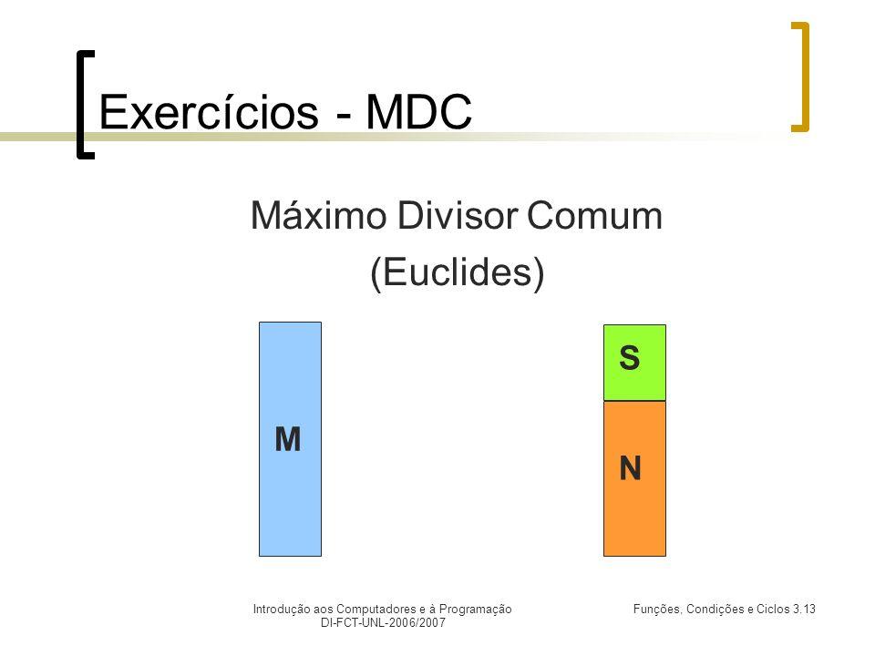 Introdução aos Computadores e à Programação DI-FCT-UNL-2006/2007 Funções, Condições e Ciclos 3.13 Exercícios - MDC Máximo Divisor Comum (Euclides) M N
