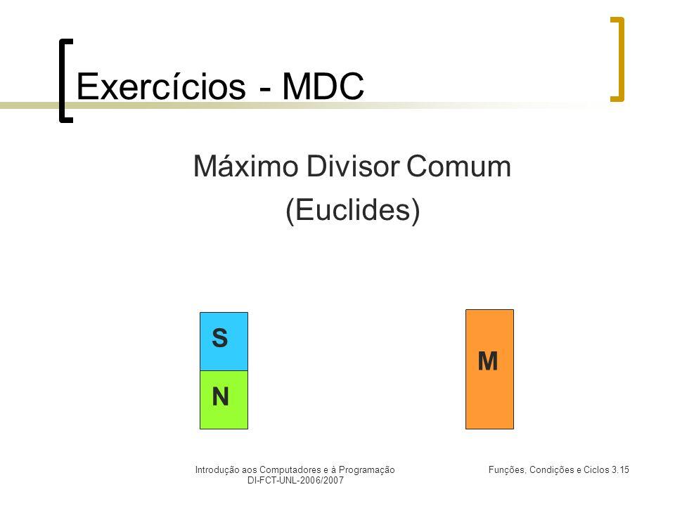 Introdução aos Computadores e à Programação DI-FCT-UNL-2006/2007 Funções, Condições e Ciclos 3.15 Exercícios - MDC Máximo Divisor Comum (Euclides) M N