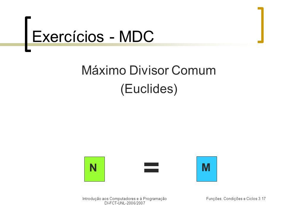 Introdução aos Computadores e à Programação DI-FCT-UNL-2006/2007 Funções, Condições e Ciclos 3.17 Exercícios - MDC Máximo Divisor Comum (Euclides) N M