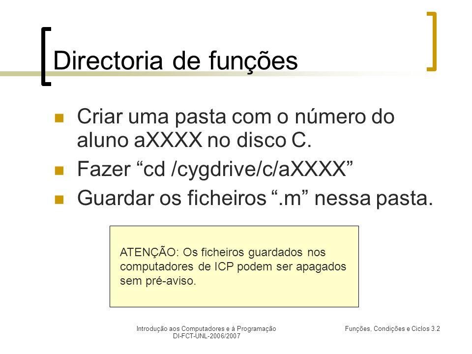 Introdução aos Computadores e à Programação DI-FCT-UNL-2006/2007 Funções, Condições e Ciclos 3.2 Directoria de funções Criar uma pasta com o número do aluno aXXXX no disco C.