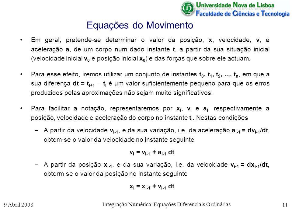 9 Abril 2008 Integração Numérica: Equações Diferenciais Ordinárias 11 Equações do Movimento Em geral, pretende-se determinar o valor da posição, x, ve